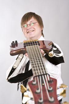 Guitar Player Playing Guitar Royalty Free Stock Image