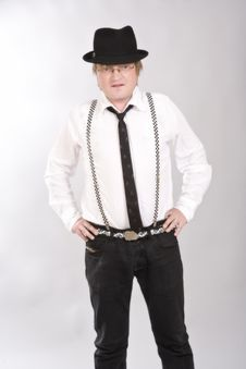 Free Man Is In A Hat, Suspenders And Tie Of Hand Stock Photos - 10049463