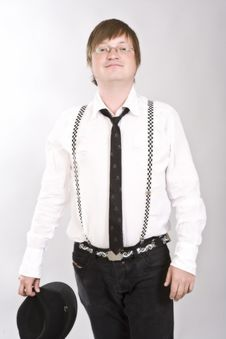Free Man Uncaped In Suspenders Stock Photos - 10049553