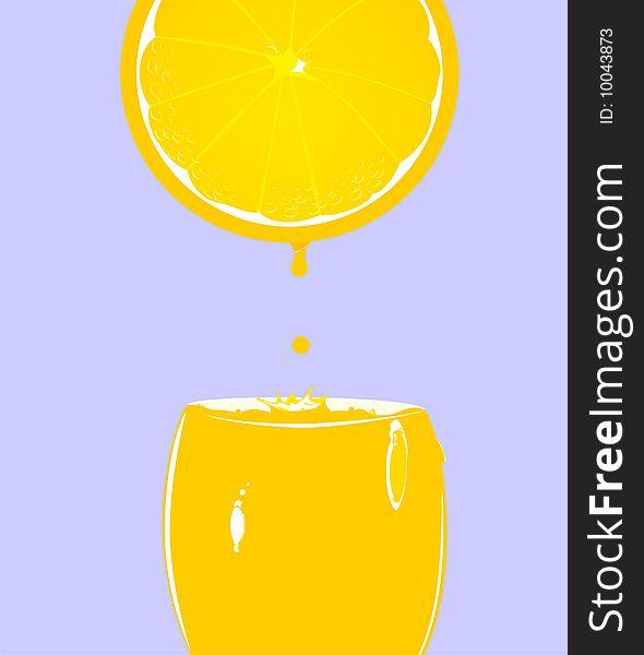 Glass with fresh orange juice