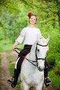 Free Smiling Girl Riding White Horse Royalty Free Stock Photos - 10059738