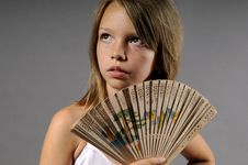 Ballerina With Fan Royalty Free Stock Photography