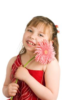 Free Portrait Of Nice Girl With Flower Stock Images - 10050284