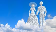 Free Wedding. Couple In Clouds. Royalty Free Stock Photo - 10052215