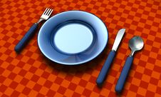 Free Knife, Fork, Spoon And Plate Royalty Free Stock Image - 10052656