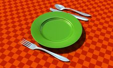 Free Knife, Fork, Spoon And Plate Stock Photo - 10052710