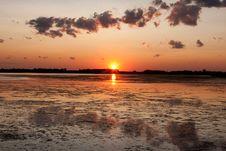 Free Prairie Sunset On Pond Stock Image - 10053741