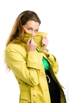 Free Woman In Yellow Raincoat Royalty Free Stock Photography - 10054587