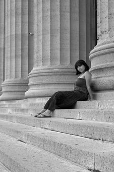 Hispanic Girl On Museum Steps Stock Photos
