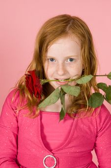 Young Girl Is Holding A Red Rose Between Her Teeth Stock Images