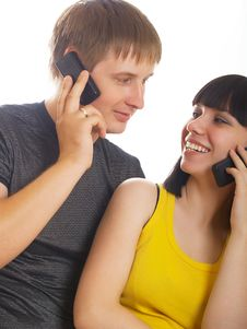 Free Couple On The Phone Together Stock Image - 10056441