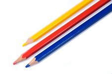 Three Coloured Pencils Stock Photos