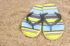 Free Green Colored Summer Slippers Stock Image - 10056481