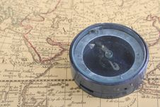 Compass And Map 02 Royalty Free Stock Image