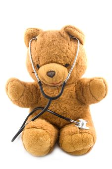 Free Teddybear Acting As A Doctor With A Stetoscope Stock Image - 10056651