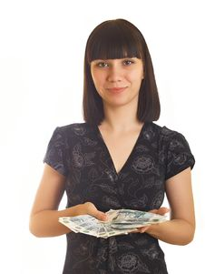 Free Woman Holding Money Stock Photos - 10056803