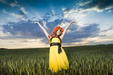 Free Beautiful Young Girl In The Wheat Field Royalty Free Stock Images - 10059119