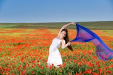 Free Smiling Girl In The Poppy Field Stock Photo - 10059160