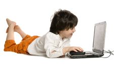 Free The Merry Boy With Laptop Stock Photography - 10059482