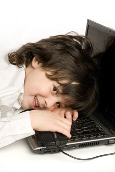 Free The Merry Boy With Laptop Stock Photo - 10059540