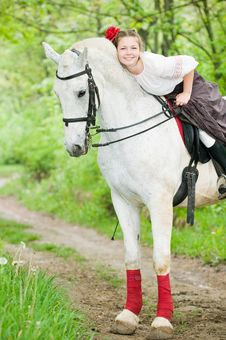 Free Beautiful Girl Riding White Horse Stock Images - 10059714