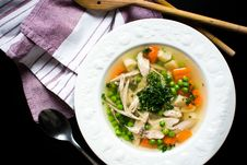 Free Homemade Chicken Broth With Vegetables Stock Image - 100551961