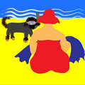 Free Beach Lady With Snorkelling Dog. Stock Images - 10066634