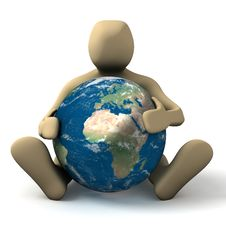 Free Person Hugging A Planet Stock Images - 10060524