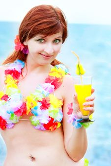 Free Girl In Bright Bikini With Glass Of Juice Stock Photography - 10062322