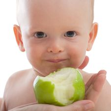 Mother Give Green Apple To Her Son Royalty Free Stock Photo