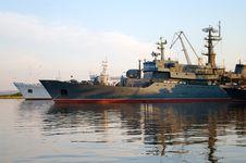 Ship At Dawn Royalty Free Stock Image