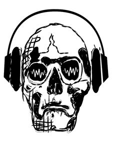 Free Skull In Headphones Stock Photography - 10064142