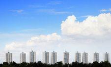 Urban Condominium With Blue Sky Stock Photos