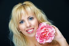 Free Smiling With Flower Stock Photo - 10065580