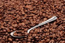 Spoon Atop Of Coffee Beans Royalty Free Stock Image