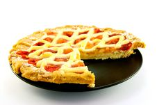 Free Apple And Strawberry Pie With A Slice Missing Royalty Free Stock Image - 10069116