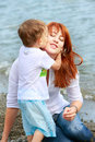 Free Mother And Son On Beach Stock Images - 10075504