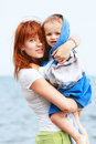 Free Mother And Son On Beach Stock Photography - 10075522