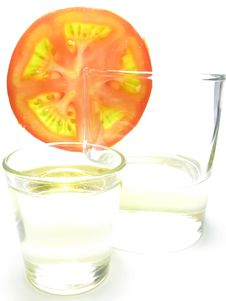 Free Glass Of Sunflower Oil And Tomatoes. Stock Photography - 10071222