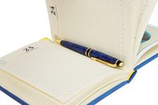 Opened Diary With Pen Inside Royalty Free Stock Image