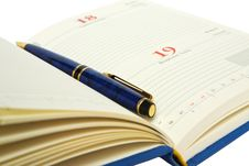 Page Of Diary With Pen Inside Royalty Free Stock Photography