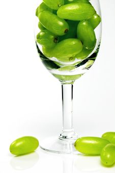 Green Grapes In A Goblet Stock Images