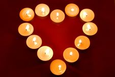 Candles In The Shape Of A Heart Royalty Free Stock Photography