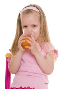 Free Little Girl With Glass Of Juice. Stock Photography - 10073302