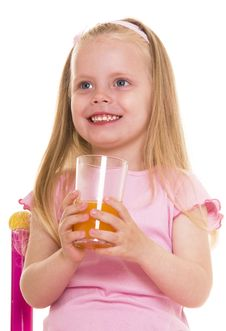 Free Little Girl With Glass Of Juice. Royalty Free Stock Image - 10073926