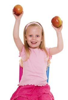 Free Little Girl With Apple. Stock Image - 10073961