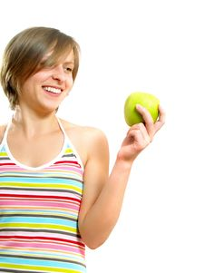 Free Beautiful Girl With A Green Apple Stock Images - 10074024