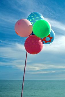 Free Balloons At The Seaside Stock Photography - 10074562