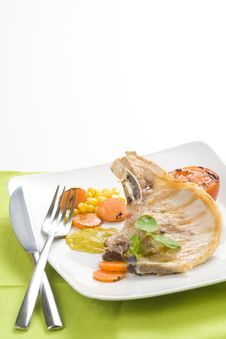 Free Tasty Pork Chop With Corn Carrot Tomato Royalty Free Stock Photo - 10075275