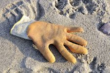 Free Glove On A Beach Stock Image - 10078671